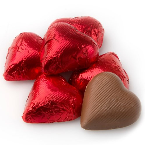 Foil-Wrapped Chocolate Hearts