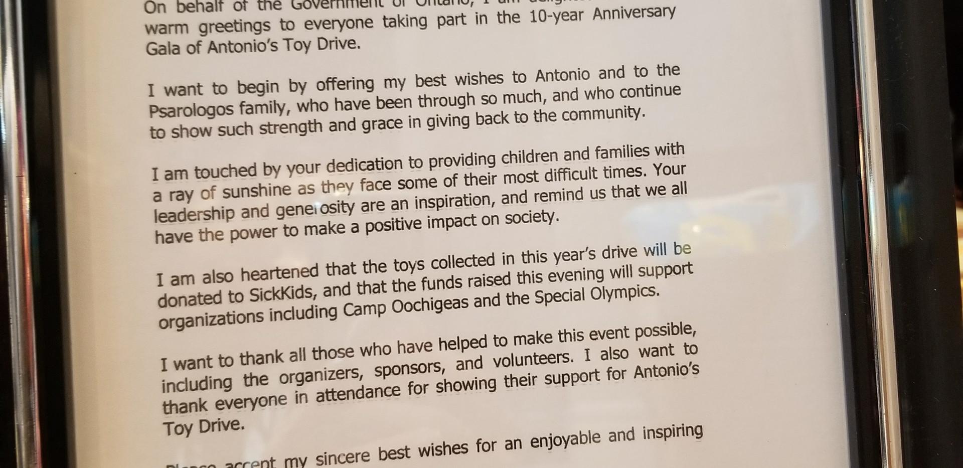 Letter from Premier Kathleen Wynne