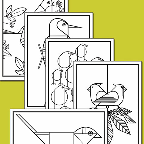 Charley Harper Coloring Cards | Fat Finch Boutique for Bird Lovers ...
