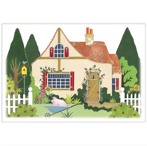 Cottage And Pig Flour Sack Towel By Mary Lake Thompson