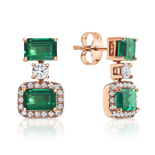 Green emerald gemstones earrings with diamonds