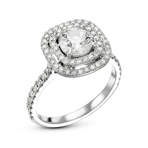 2 row halo engagement ring