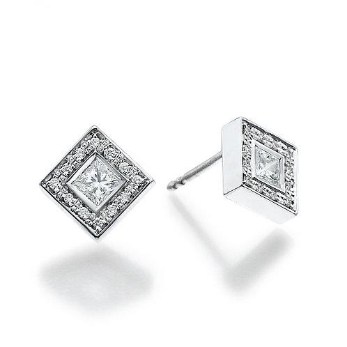 Princess cut diamonds halo earrings