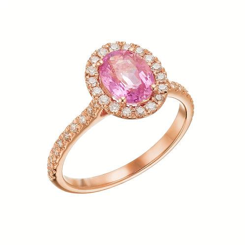טבעת הלו ספיר ורוד