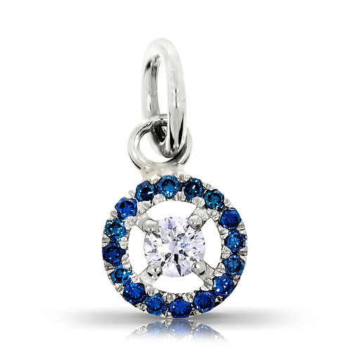 DIAMOND PENDENT WITH BLUE HALO