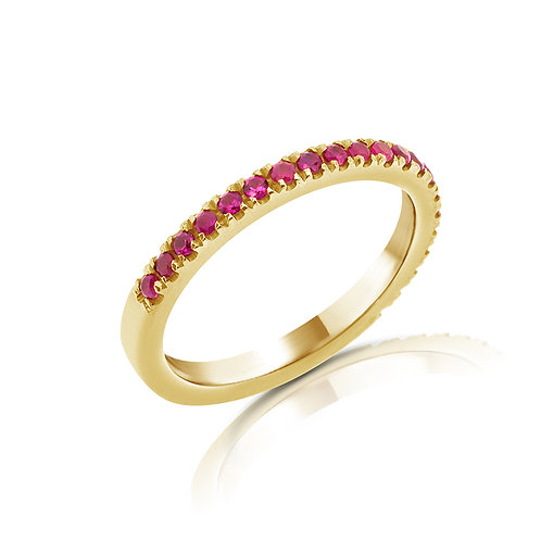 HALF GEMSTONES WEDDING BAND