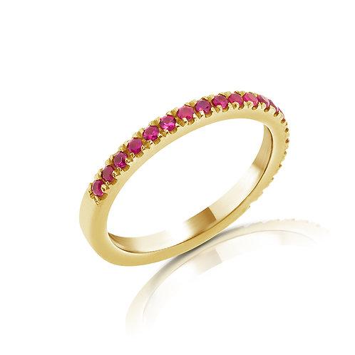 טבעת חצי נישואים משובץ אבני חן רובי