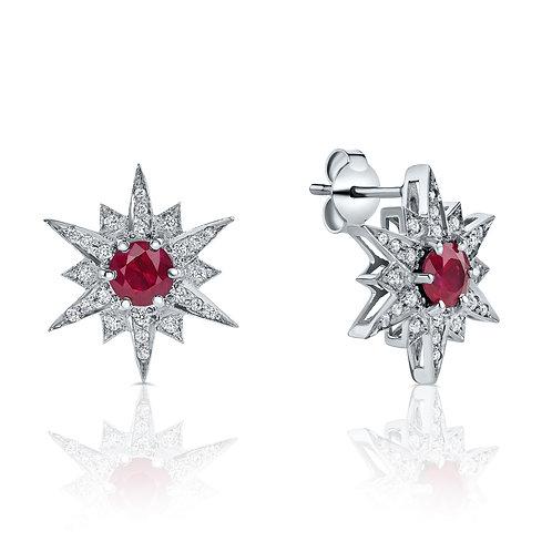 Ruby & diamonds star earrings
