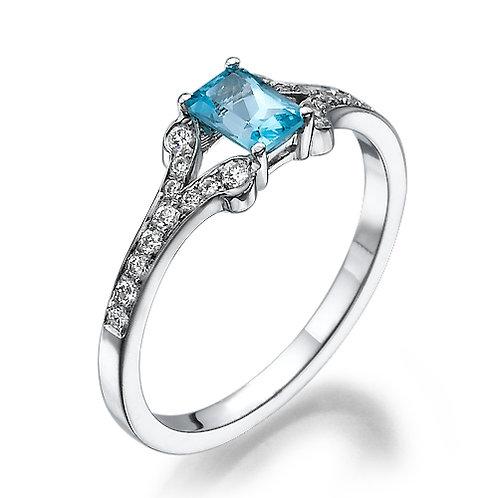 טבעת אקווה מרין ויהלומים