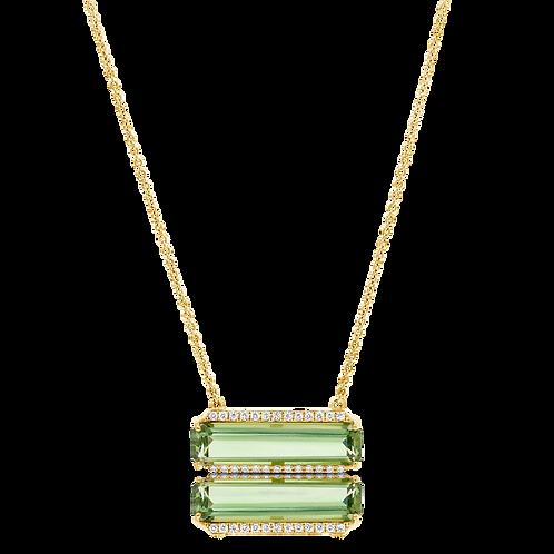 Green amethyst & diamonds pendant