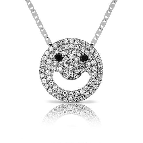 Smile icon pendant with diamonds
