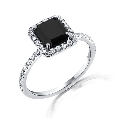 HALO ENGAGEMENT RING BLACK DIAMONDS