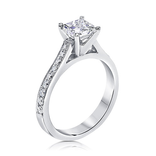 Princess cut classic engagement ring