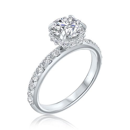 טבעת אירוסין היילו בצד