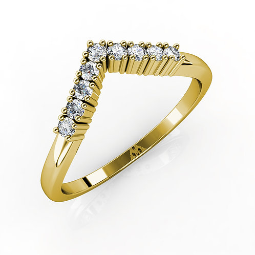 """V"" RING WITH DIAMONDS"