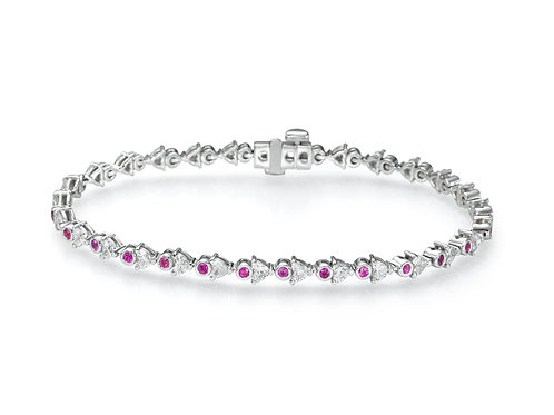 DIAMONDS AND PINK SAPPHIRE BRACELET