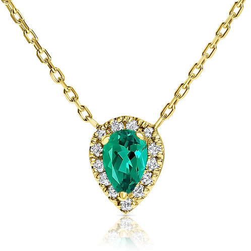 Green emerald pear-shape halo pendant with diamonds