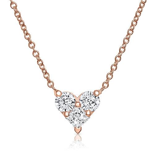 Heart-shape diamond pendant