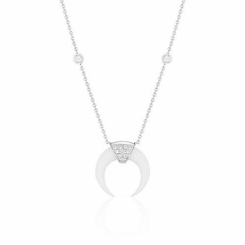DOUBLE HORN NECKLACE WITH DIAMONDS