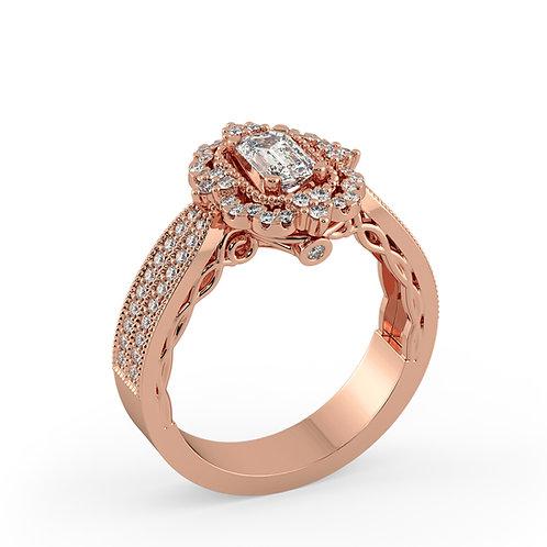 טבעת אירוסין וינטאג משובצת ביהלום בחיתוך אמרלד