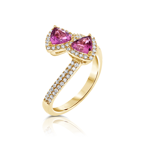 TOURMALINE TRILLIONS AND DIAMONDS RING