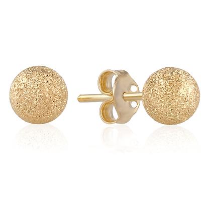עגילי זהב בצורת עיגול מנצנץ