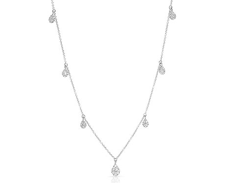 Chain with pear shapes pendants with diamonds