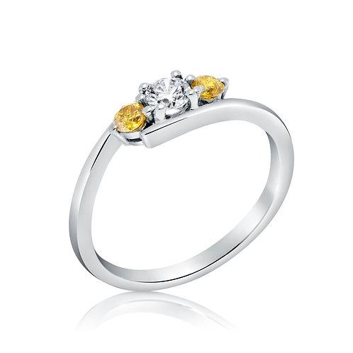 טבעת אירוסין לבן וצהוב