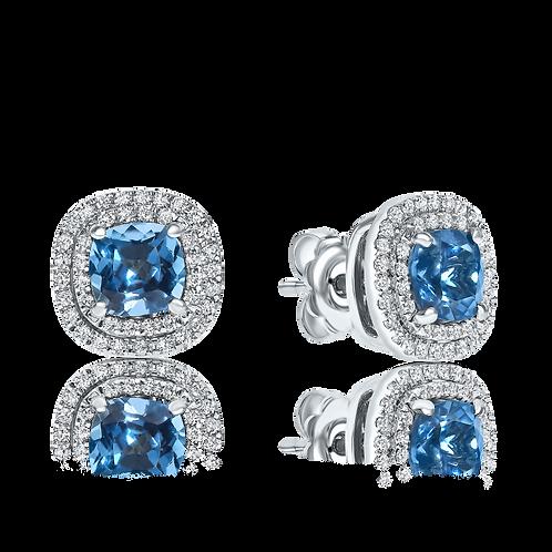 blue topaz earrings with halo diamonds