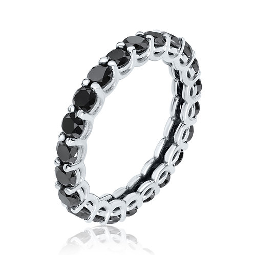 U-shape black diamonds eternity ring