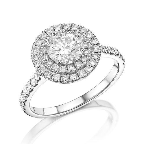 2 row halo engagement ring