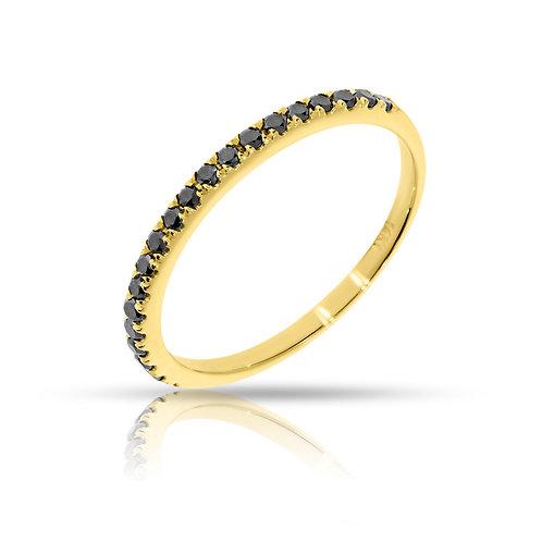 טבעת חצי נישואים משובצת יהלומים שחורים