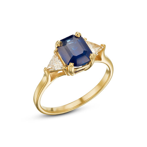 Blue sapphire & trillions ring