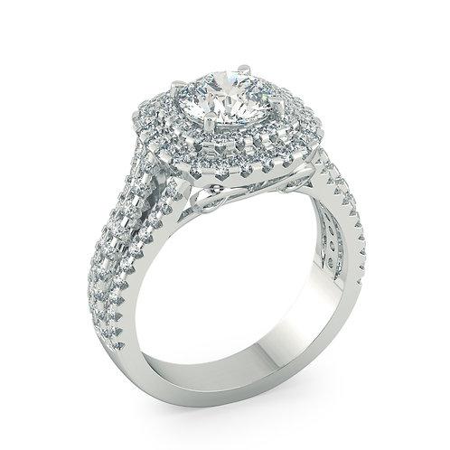 3 row halo engagement ring