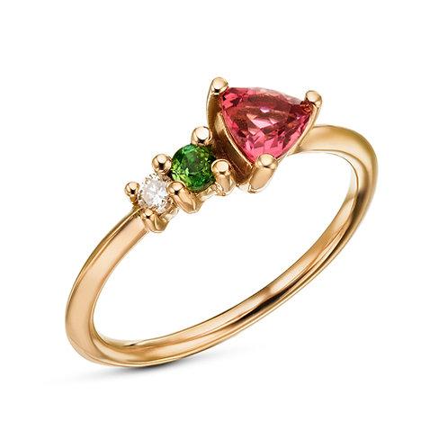 Tourmaline trillion and diamonds ring
