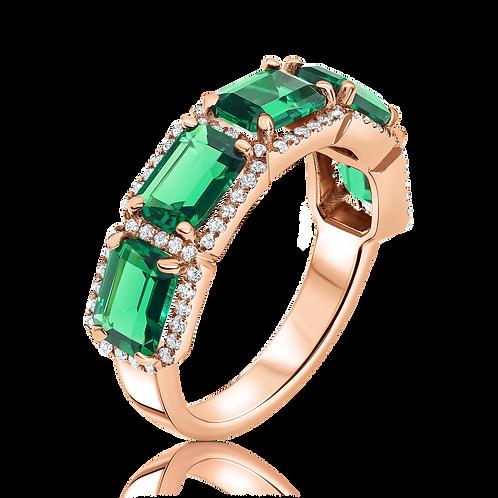 טבעת יהלומים ואמרלדים