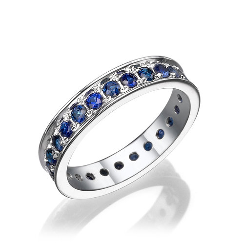 Channel sapphire eternity ring