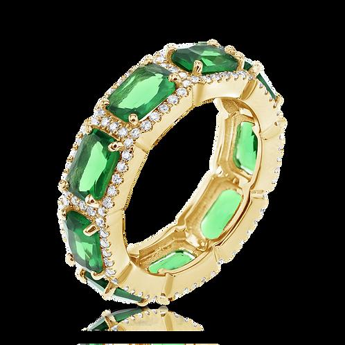 Emeralds & diamonds halo ring