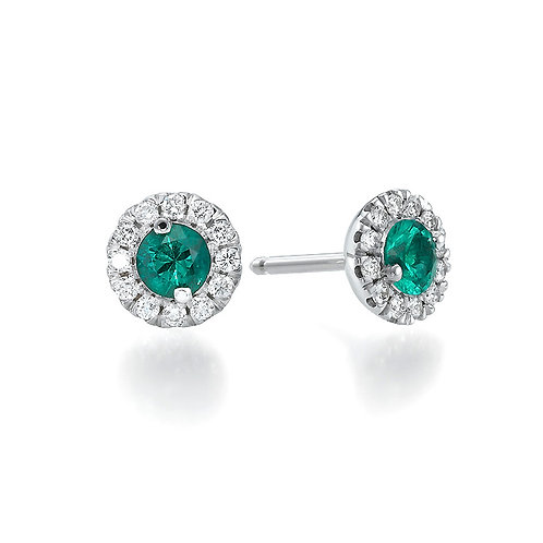 Emerald earrings with diamonds halo