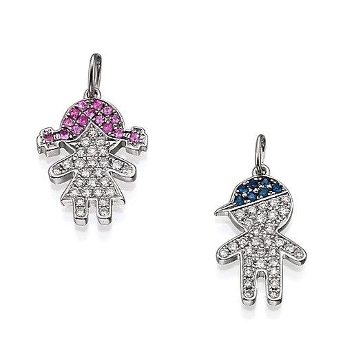 Boy & girl diamonds pendant