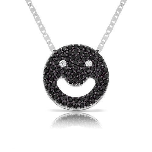 Smile icon pendant with diamonds