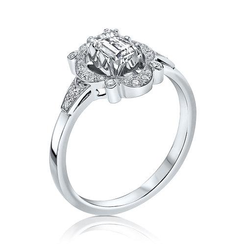 טבעת אירוסין חיתוך אמרלד