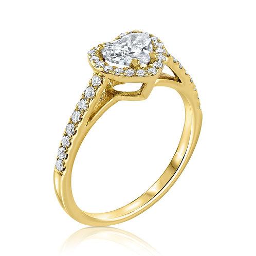 טבעת אירוסין היילויהלום בחיתוך לב