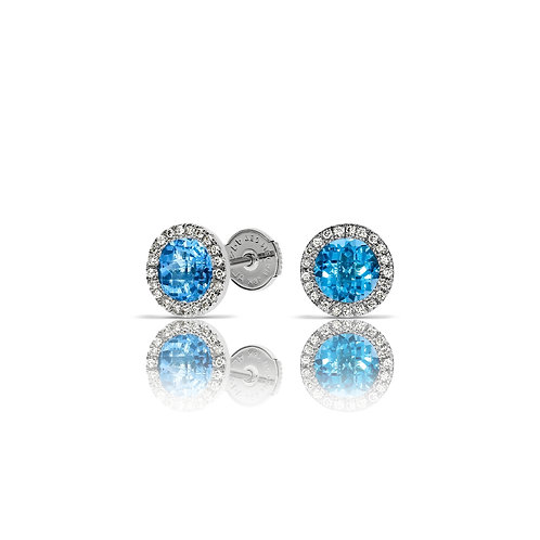 Round blue topaz earrings and diamonds halo