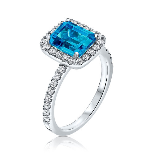 טבעת בלו טופז לונדון הילו
