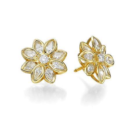 עגילי פרח עם יהלומים