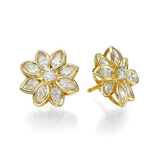 Diamonds flower earrings