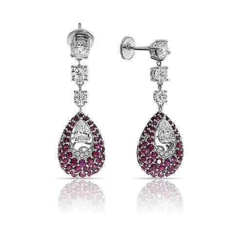 Drop diamonds & ruby earrings