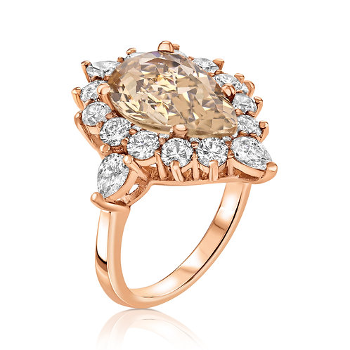 Morganite pear shape ring