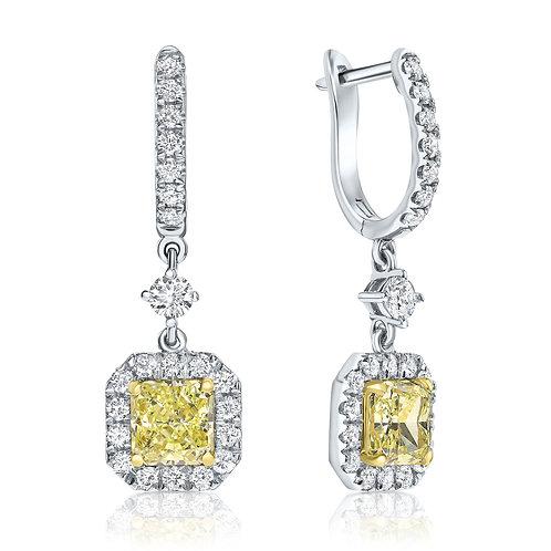Fancy yellow halo diamonds earrings